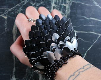 Dragon Scale Glove, Gothic Slave Bracelet Armor, Pagan Witch Fantasy Jewelry,  LARP Goth Festival Cosplay