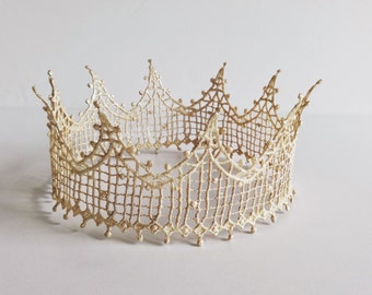 Lace Crown, Ready to Ship, Crown, Halo, Tiara, Head Piece, Toddler, Adult, Birthday, Champagne. Silver, Taupe, Gold or Bronze, The Katelyn