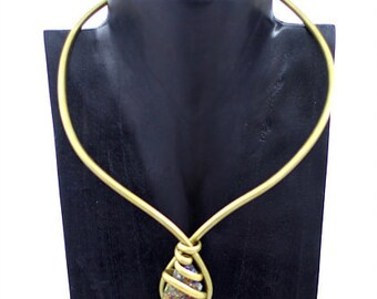 Abstract Pyrite Collar Wire Wrapped Necklace