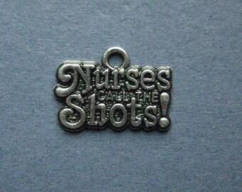 5 Nurses Call the Shots Charms - Nurses Call the Shots Pendants - Nurse Charms - RN Charms - Antique Silver - 14mm x 18mm -- (X1-10381)