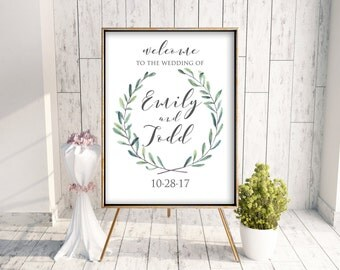 Custom Watercolor Greenery Poster Wedding Welcome Sign, 24x36 poster sign, Wedding Decor, Printable Wedding Decor