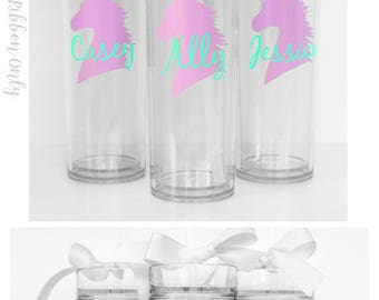 6 Custom skinny tumblers, unicorn, personalized cups, birthday gift, wedding gift, wedding favors, destination wedding, unicorn cup