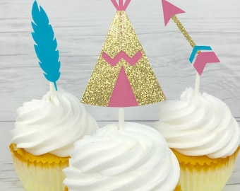 Boho cupcake toppers, teepee cupcake toppers, feather cupcake toppers, arrow cupcake toppers, aztec party, boho party, pow wow