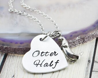Otter Half Couples Necklace - Couples Jewelry - Anniversary Gift for Her - Best Friend Gift - Girlfriend Gift - Other Half Jewelry