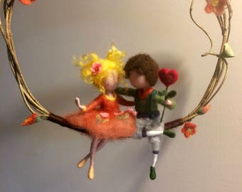 Needle felted dolls,  Waldorf inspired, Wool Two friends on a Swing, Lovers, Mobile, Art doll, Doll miniature, Valentine's Day, Gift