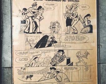 "ALBERTO BELTRAN signed cartoon/1977 Framed ""Newspaper sketch"" by Mexican artist /Vintage political newspaper sketch/collectible mexican art"