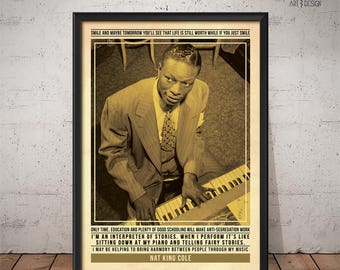 Nat King Cole Poster - Quote Retro Music Poster - Music Print, Wall Art