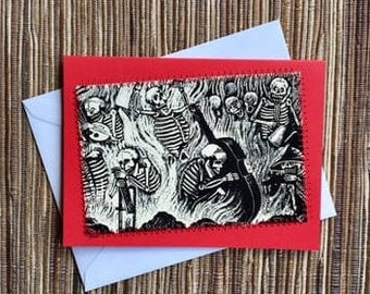 Skeleton Musicians - hand made upcycled card