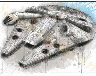 Millennium Falcon Corellian YT-1300f Star Wars Inspired Splash Art A4 Print