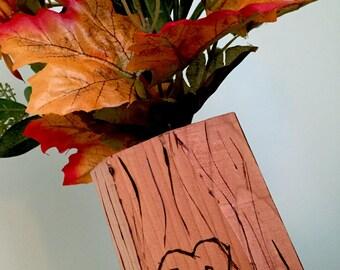 Wooden Tree Vase - Couples Initials