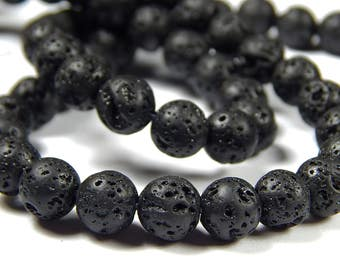 15 Inch Strand - 8mm Round Natural Black Lava Rock Beads - Gemstone Beads - Jewelry Supplies