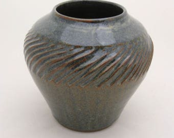 Stoneware vase, thrown and hand-carved, high-fired in a reduction atmosphere