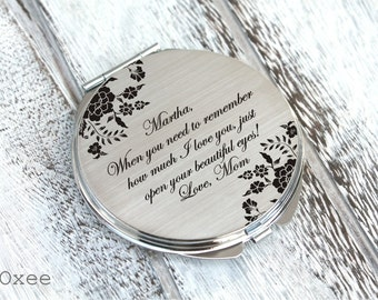 Personalized engraved pocket mirror | compact mirror | wedding gift | gift from mother to daughter