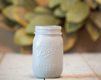 Gray Centerpiece Mason Jar Wedding Vase Matte Decor Modern Farmhouse Painted