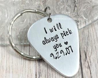 Guitar Pick Keychain, I Will Always Pick You, Personalized Guitar Pick, Groom Gift,  Husband Anniversary, Boyfriend Birthday, Valentines Day