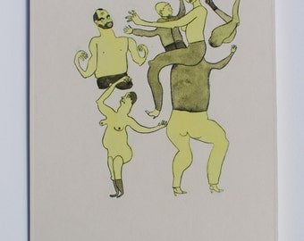 Dancing Mob 2  (Hancoloured drypoint etching, 2015)