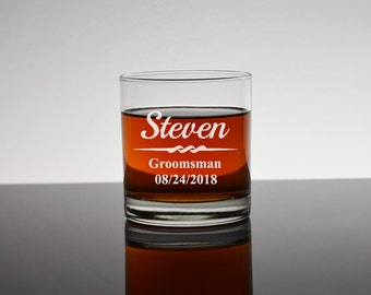 13 Personalized Rocks Glasses, Set of 13, Gifts for Groomsmen, Bourbon Glass, Whiskey Glass, Personalized Groomsmen Glass, Bachelor, RG01
