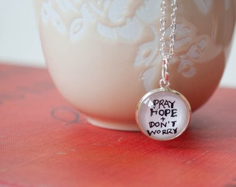 Pray Hope and Don't Worry Charm, Padre Pio Quote Necklace, Catholic Gifts for Women, 402031