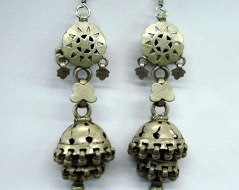 vintage antique ethnic tribal old silver earrings dangle belly dance jewellery