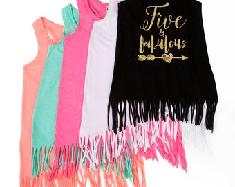 Five and Fabulous - Birthday Dress - Fringe Dress - 5 Year Old - 5th Birthday - Birthday Outfit - Five and Fab - FIVE - Birthday Girl