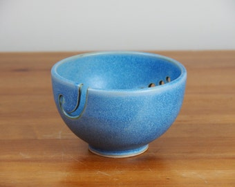 Yarn Bowl - Ceramic, Handmade Pottery, Blue