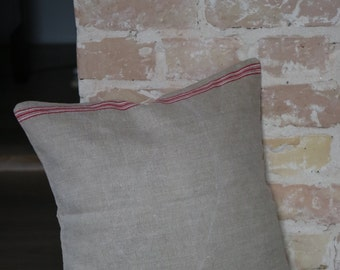 pillow from antique linen: red white stripes / 40*40cm