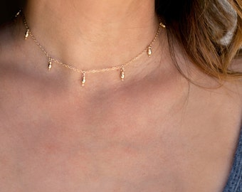 Delicate Gold Choker Necklace, Dainty Choker Necklace,Dew Drop Choker Necklace, Gold Choker,Sterling Silver,14K Gold Fill, Gift for Her,N232