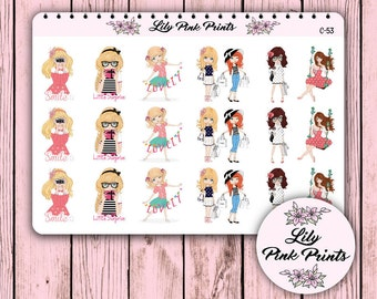 18 Cute Girl Stickers C-53 - Perfect for Erin Condren Life Planners / Journals / Stickers.