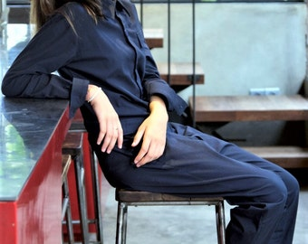Women Jumpsuit, Bold jumpsuit, Navy Blue, Powersuit, casual wear, workwear, unique, powerful