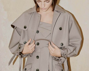 SALE Beige Short Trench, Crop Length Trenchcoat by ILMNE
