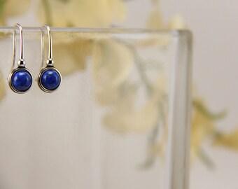 Denim lapis sterling silver earrings - 6mm [E43DL]