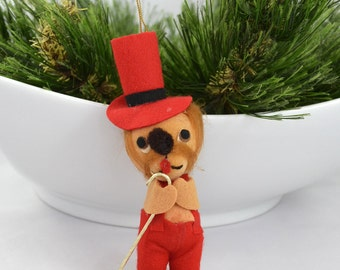 Vintage Mid Century Bear Christmas Ornament Made In Japan
