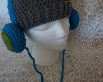 Crochet Headphones Hat - Child Size