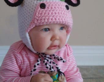 Cow Beanie crocheted for adult or child