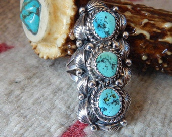 Turquoise ring, size 6, long, rare, Navajo, statement ring, sterling silver, southwest jewelry, Native American Jewelry, sterling turquoise