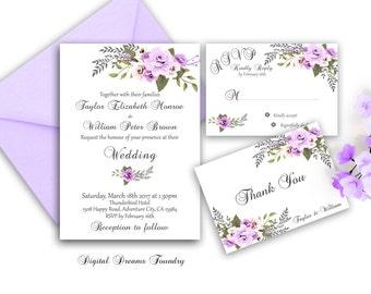 Purple Floral Wedding Invitation Printable Boho Wedding Invitation Suite Romantic Rose Wedding Invitation Spring Wedding Elegant Wedding