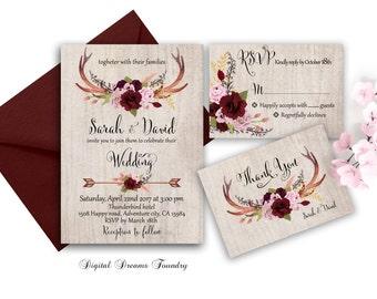 Boho Wedding Invitation Printable Set Rustic Wedding Invitation with Antlers Marsala Floral Wedding Invitation Blush Pink Rose Wedding