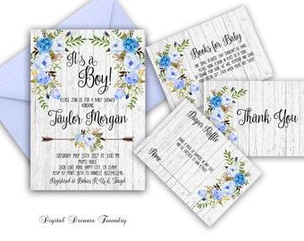 Boho Baby Boy Shower Invitation Printable Floral Baby Shower Invitations Blue Baby Invitation Its a Boy Baby Shower Invitation Rustic Baby