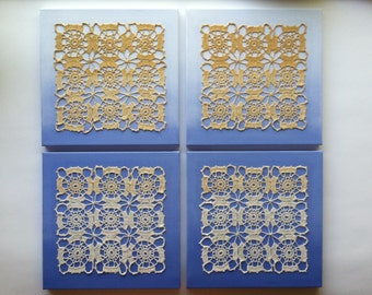 """Artwork, 4 canvases 12"""" x 12"""", blue, gold, beige, canvas, doily, doilies, Acrylic painting, collage"""