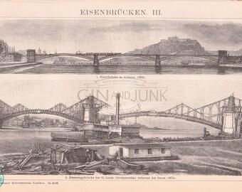 Vintage industrial print of various Bridge types from 1890