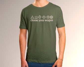 """DnD Inspired """"Choose Your Weapon"""" Men's T-Shirt"""