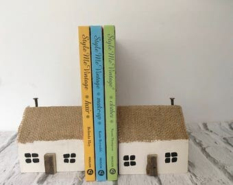 Traditional irish thatched cottage bookends reclaimed wood driftwood ireland books oak
