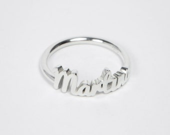 Custom Half Circle Text Ring - Customizable Text - Letters - Name - Sterling Silver