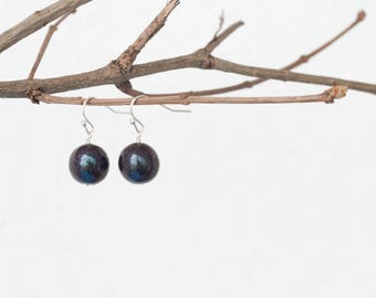 Black ball earrings, Black simple earrings, Bead earrings, Ball drop earrings, Small earrings, Black earrings, Round earrings Earrings ball