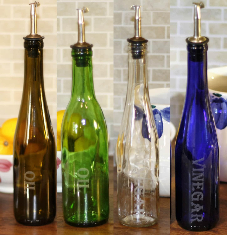 Wine Bottle Oil And Vinegar Set Kitchen Decor Wine Decor