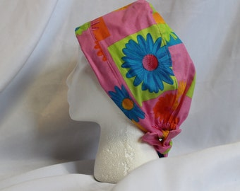 Pink Pop Art Daisies Surgical Scrub Cap Dental Chemo Hat