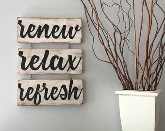Renew Relax Refresh Spa Sign/Spa Art/Bathroom Art/Relax Sign/Bathroom Decor Sign/Spa Sign Set/Spa Decor/Massage Room Decor/Massage Room Sign