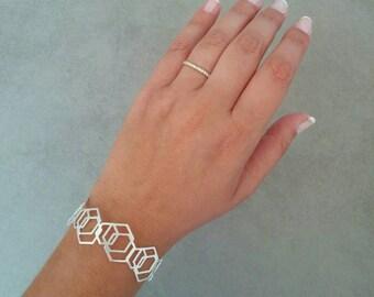 Silver Bracelet, Cuff Bracelet, Hexagon Bangle Bracelet, Geometric Bangle, Geometric Cuff Silver Bangle, Bridesmaids Gift, Wedding Bracelet