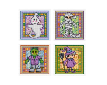 Halloween Characters - Set of 4 - Durene J Cross Stitch Patterns