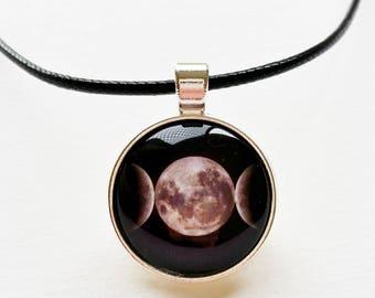 Triple collar de Luna - Luna joyas, colgante de la luna llena, pagano colgante, joyería espiritual, joyería Luna, collar de media luna